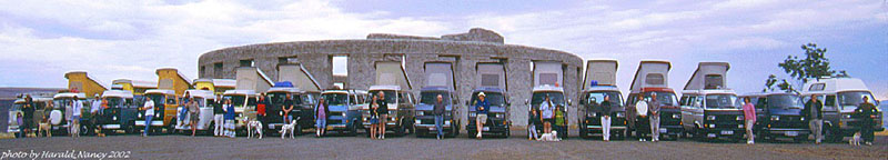 Busses at Stonehenge replica near Mary Hill, WA